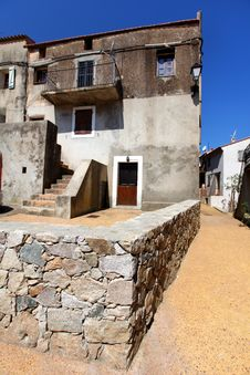 Village House With Stone Wall Courtyard In France Royalty Free Stock Photo