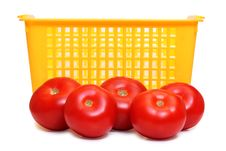 Tomatos In Yellow Basket Royalty Free Stock Photography