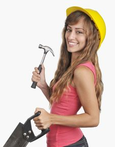 Free Young Hispanic Woman Construction Worker Stock Photography - 20351252