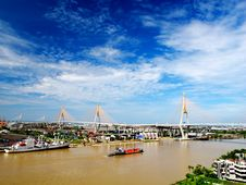 Bhumibol Bridge Thailand Royalty Free Stock Images