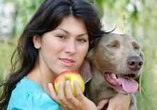 Young Woman And Dog Stock Photos