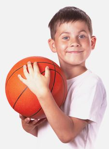 Child With Basketball Ball Stock Photography