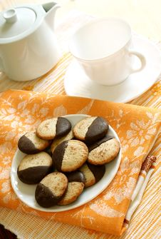 Cookies On Plate, Teapot And Cup Royalty Free Stock Image