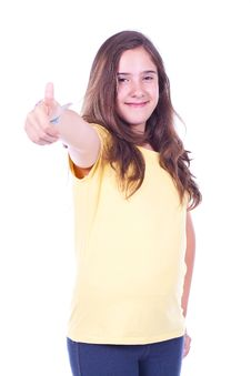 Girl Doing Thumb Up Stock Photography