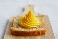 Free Homemade Mayonnaise On A Slice Of Integral Bread Stock Photos - 20354723