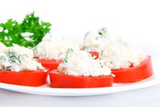 Free Sliced Tomato With Cheese Sauce Royalty Free Stock Image - 20354786
