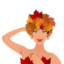 Free Elegant Autumn Girl With Leaves Royalty Free Stock Image - 20354966