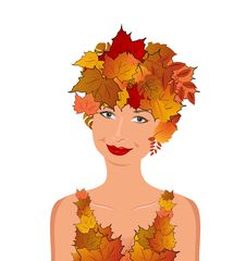 Free Elegant Autumn Girl With Leaves Royalty Free Stock Photography - 20354967