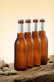 Free Cold Beer Bottles Orange Gradient Background Stock Photos - 20356013