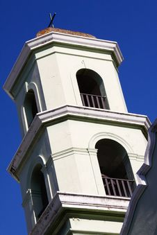 Old San Juan - Historic Colonial Church Bell Tower Stock Photo