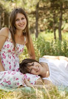 Free Two Happy Sisters At The Park Stock Images - 20357834