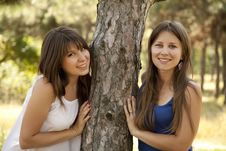 Free Two Happy Sisters At The Park Stock Photo - 20357870