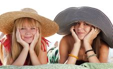 Free Two Beautiful Girls At Beach Royalty Free Stock Images - 20357909