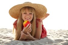 Free Beautiful Girl In Hat At Beach Royalty Free Stock Photo - 20357955