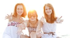Free Portrait Of Three Beautiful Girls At The Beach. Stock Photos - 20358163