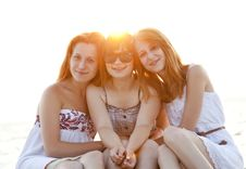 Free Portrait Of Three Beautiful Girls At The Beach. Royalty Free Stock Image - 20358166