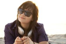 Free Girl With Headphones At Beach Sand. Royalty Free Stock Images - 20358189