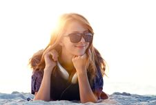 Free Girl With Headphones At Beach Sand. Royalty Free Stock Image - 20358236