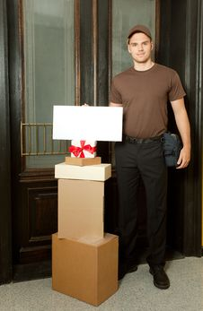 Free Friednly Deliveryman Royalty Free Stock Photo - 20358345