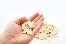 Free Pumpkin Seeds In Hand On White Background Royalty Free Stock Photography - 20358487