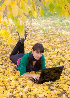 Free Young Girl With A Laptop In A Autumn Foliage Stock Image - 20359151