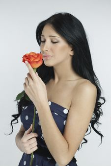 Free Romantic Girl Smelling A Rose Royalty Free Stock Photography - 20359757
