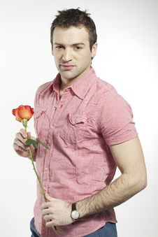 Free Romantic Young Man Holding A Rose Stock Photos - 20359803