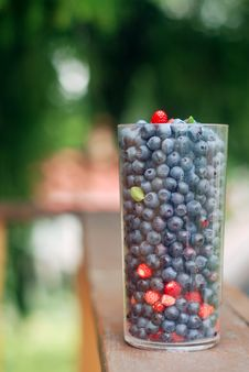 Glass Full Of Blueberries And Strawberries Stock Images