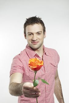 Free Romantic Young Man Giving A Rose Royalty Free Stock Photo - 20359935