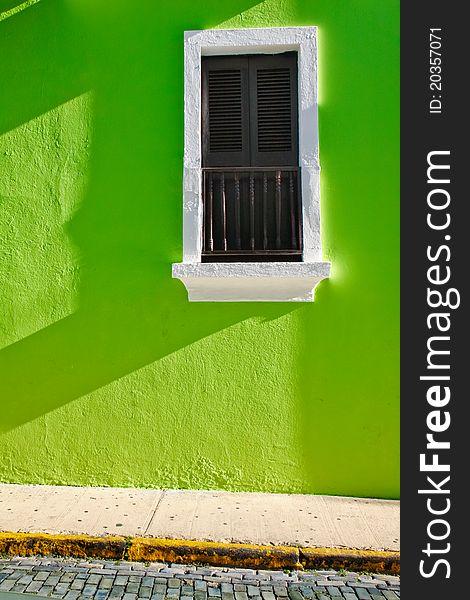 Historic Old San Juan Green Wall Shuttered Window
