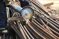 Free Construction Worker Cuts Rebar Circular Saw Stock Photos - 20364613