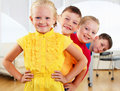 Free Group Classmates Standing In A Row Stock Photos - 20365843