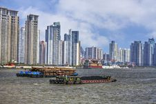 Free Coal And Timber Barges On The River Huangpu Stock Image - 20360231
