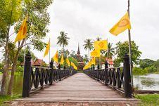 Wooden Bridge To Ruin Pagoda Royalty Free Stock Image