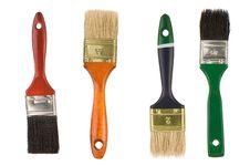Paintbrushes Isolated On White Royalty Free Stock Photos