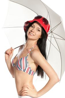Female In Swimming Suit With Umbrella Royalty Free Stock Photo