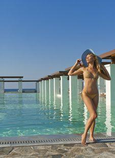 Free Beautiful Woman Standing Near Pool Stock Photography - 20362112