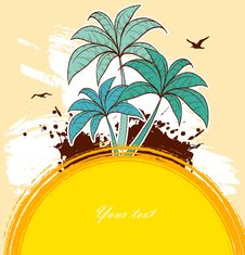 Tropic Back With Palms Stock Images