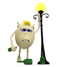 Haired Drunkard Puppet Standing Near Metal Latern Royalty Free Stock Image