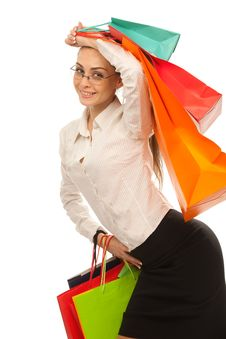 Free Stylish Woman With Shopping Bag Royalty Free Stock Photography - 20362897