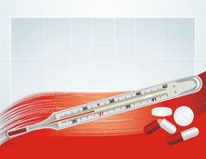 Free Thermometer And Pills On The Abstract Background Royalty Free Stock Photography - 20363097
