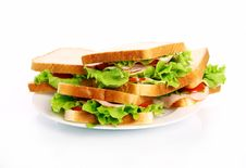 Free Tasty Sandwiches On The Plate Royalty Free Stock Photography - 20364927