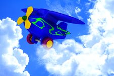 Plane With Yellow Propeller Fly In Sky Stock Images