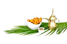 Free Arabic Coffee Pot With Date Fruits Royalty Free Stock Photography - 20366297