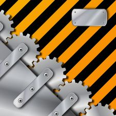 Metal Plate And Gears On Grunge Stock Photos
