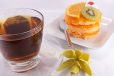 Tea And Cake On White Background Royalty Free Stock Images