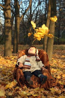 Free Little Boy Sitting In Chair In Park Stock Image - 20368251