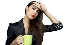 Free Tired Businesswoman With A Cup Royalty Free Stock Photography - 20368347