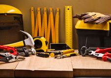 Composition Of Working Tools Royalty Free Stock Images