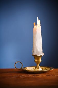 Free Copy Space Candle On Blue Background Royalty Free Stock Photo - 20369925
